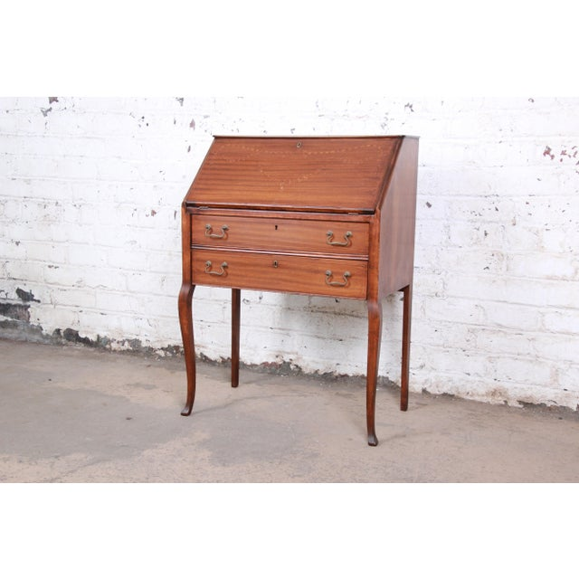 French Louis XV Style Mahogany Drop-Front Secretary Desk With Mother Of Pearl Inlay For Sale - Image 13 of 13