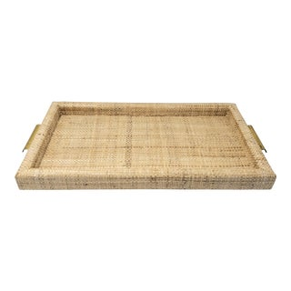 Ralph Lauren Inspired Natural Woven Brass Handle Tray For Sale