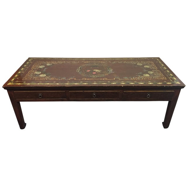 Vintage Asian Painted Cocktail Table - Image 1 of 11