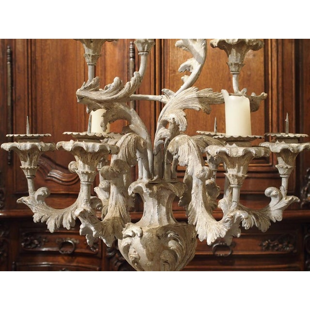 French Blue Gray Painted Rococo Style Table Candelabra For Sale In Dallas - Image 6 of 10