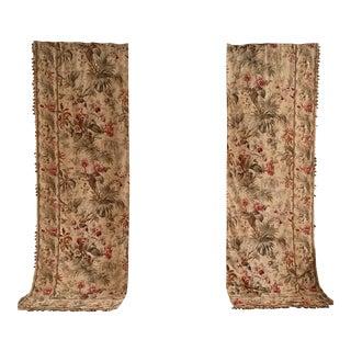 Antique Chateaux Style Orchid Floral Curtains - a Pair For Sale