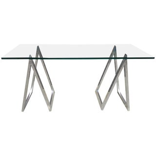 Chrome Sawhorse Leg Console Table or Desk For Sale