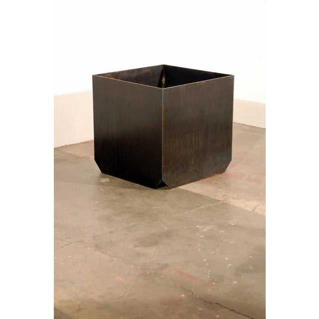 """2010s Contemporary Large """"Cubiste"""" Patinated Steel Plate Planter For Sale - Image 5 of 7"""