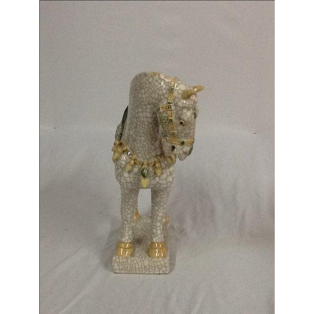 Italian Ceramic Crackle Horses - A Pair For Sale - Image 5 of 6