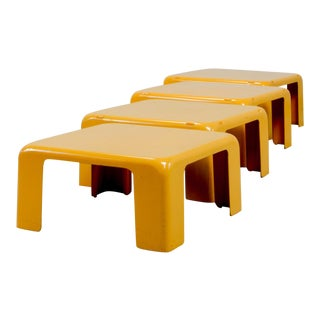 Mid-Century Yellow Set of Quattro Gatti Side Tables by Mario Bellini for C&b Italia, 1960s For Sale