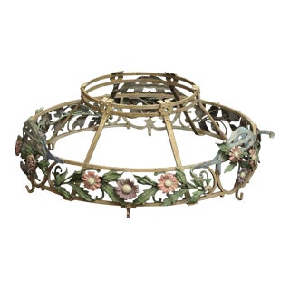 Floral Wrought Iron Light Fixture Frame