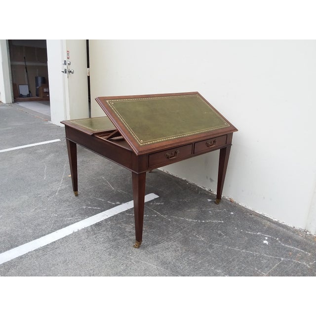 Green English Drafting Partners Table With Green Leather Top For Sale - Image 8 of 12