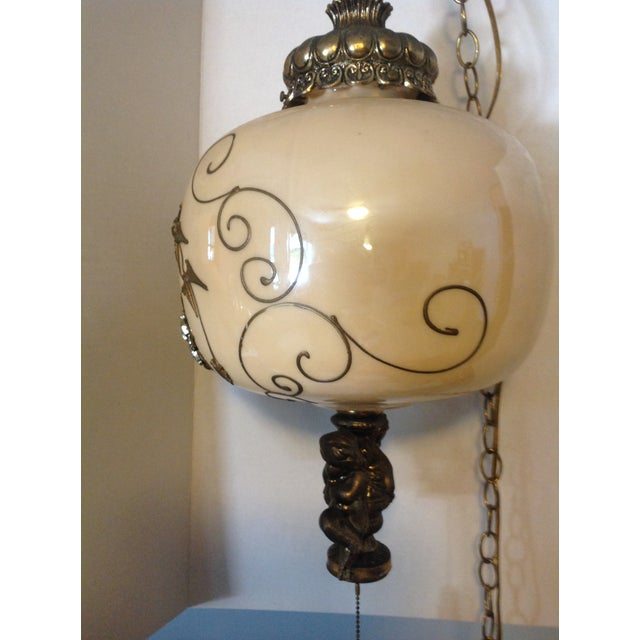Gold Hollywood Regency Hanging Swag Lamp With Cherubs For Sale - Image 8 of 8