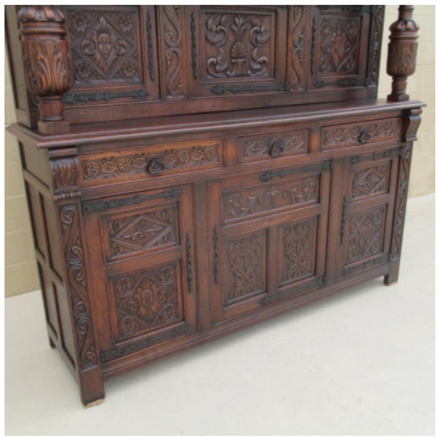 French Antique Oak Carved Court Cupboard Sideboard Cabinet - Image 8 of 8 - French Antique Oak Carved Court Cupboard Sideboard Cabinet Chairish