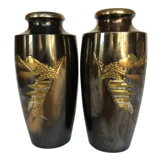 1950s Japanese Mixed Metal Mount Fuji Vases - a Pair For Sale