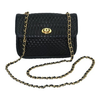 Vintage Bally Black Leather Quilted Chain Strap Handbag For Sale