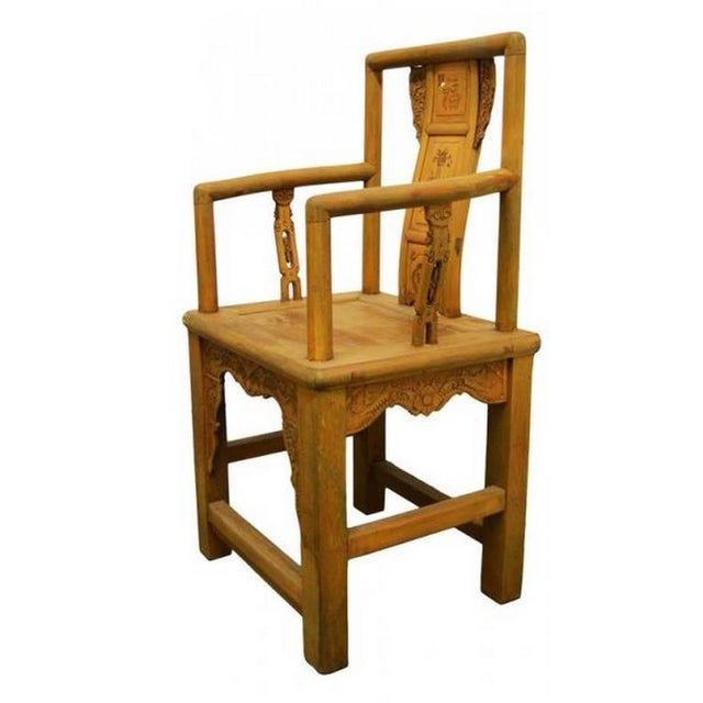 19th Century Chinese Lacquered Carved Elmwood Chair with Traditional Motifs For Sale - Image 4 of 10