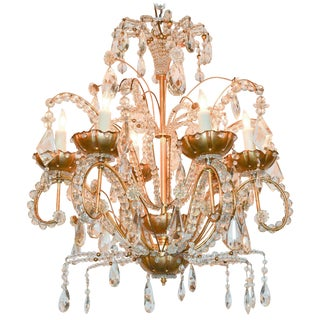 Jansen Style Gilt Metal and Crystal Chandelier For Sale