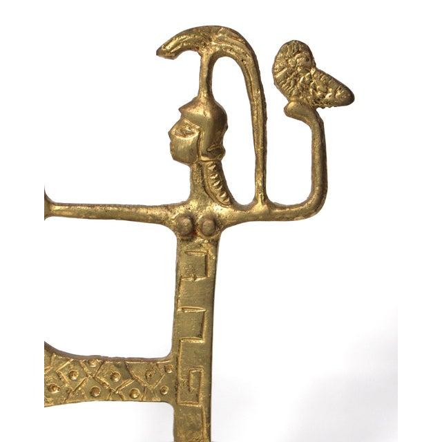 1960s Vintage Brutalist Brass Sculpture of Greek Goddess Athena Riding Chariot For Sale - Image 5 of 6