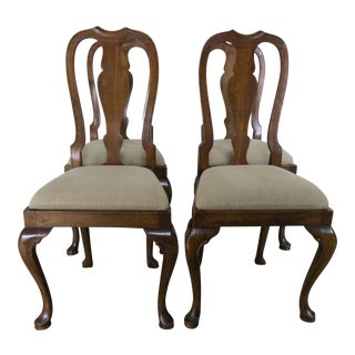 Set of English Queen Anne Style Side Chairs C. 1920's For Sale