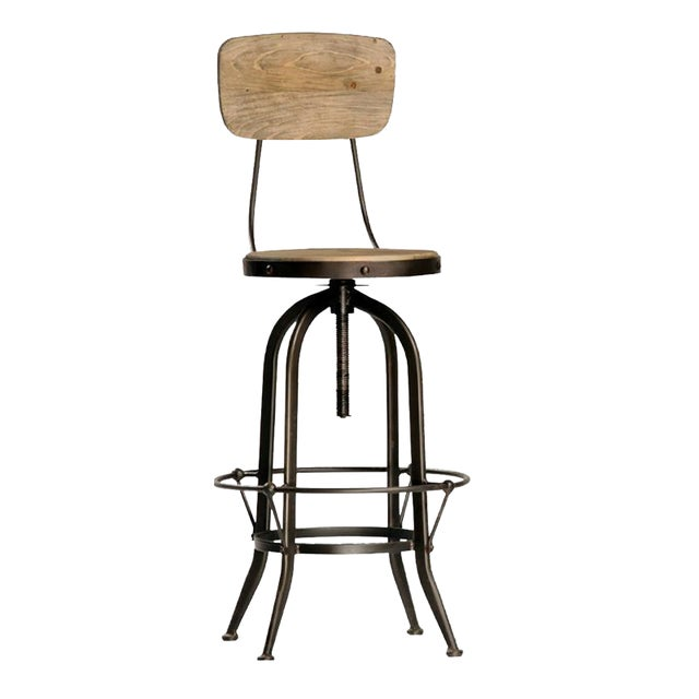 Reclaimed Wood & Iron Barstool - Image 1 of 4