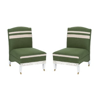 Casa Cosima Sintra Chair in Verdure Linen, a Pair For Sale