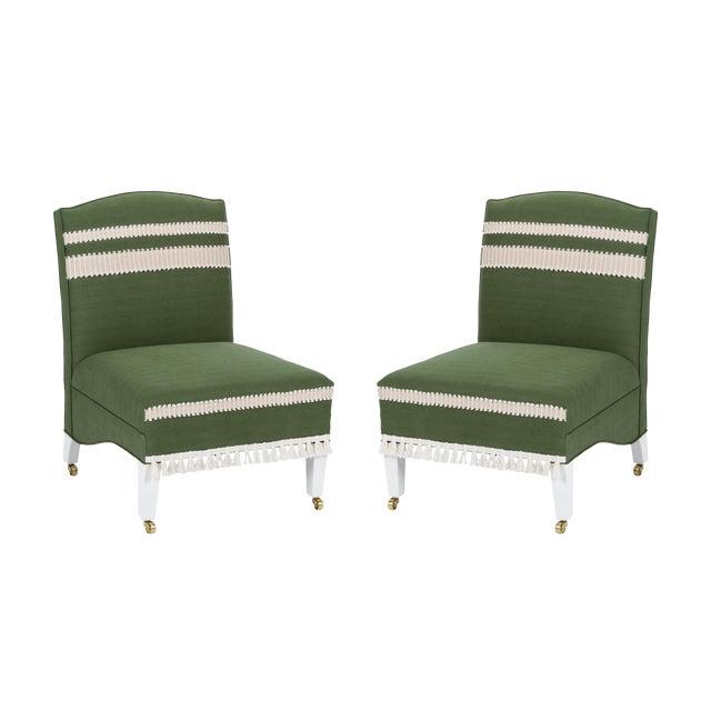 Casa Cosima Sintra Chair in Verdure Linen, a Pair For Sale