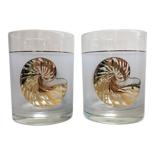 Vintage Culver Seashell Rocks Glasses - a Pair For Sale