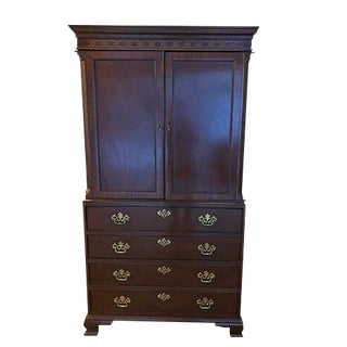 Baker Mahogany Chippendale Style Armoire For Sale