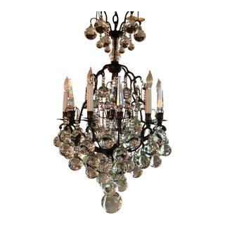 Myran Allen Luxury Lighting Traditional Versailles Italian Old Bronze and Crystal Sphere Chandelier For Sale