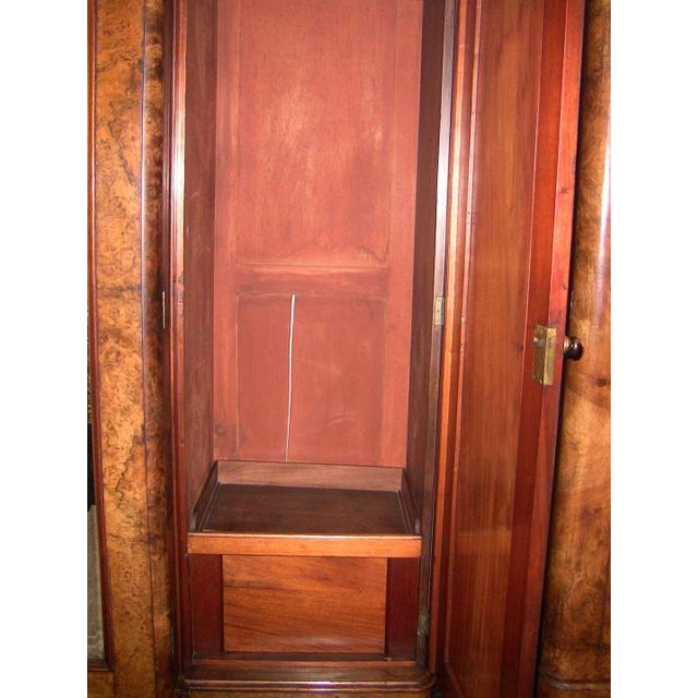 Brown 19c British Burl Walnut Breakfront 3 Door Wardrobe With Chest of Drawers For Sale - Image 8 of 13