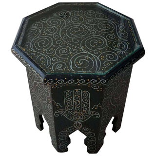 Black Hexagonal Moroccan Hand-Painted Side Table