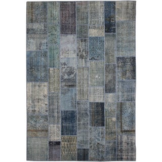 "Antique Hand Knotted Patchwork Rug - 12'2"" X 9'2"" For Sale"