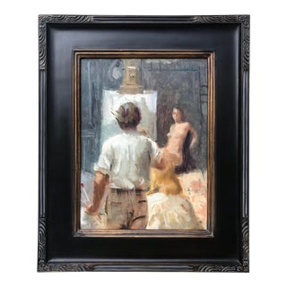 Vintage Impressionist Oil Painting of the Artist in Studio Painting a Nude by Harry Barton For Sale