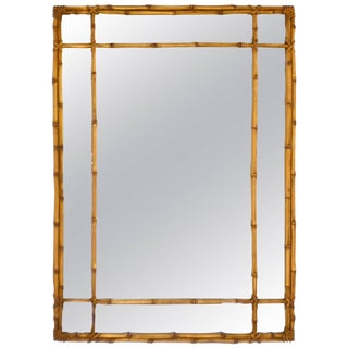 Hollywood Regency Faux Bamboo Gilt Wall Mirror For Sale