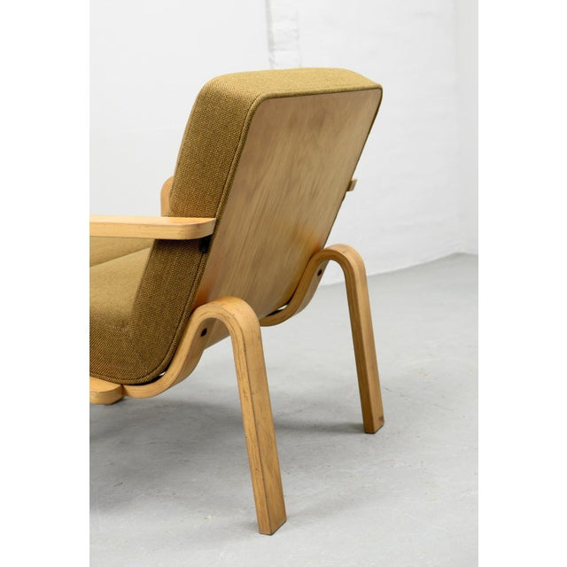 Fabric Mid-Century Danish Plywood and Mustard Fabric Lounge Chairs by Rud Thygesen for Magnus Olesen, 1970s For Sale - Image 7 of 12