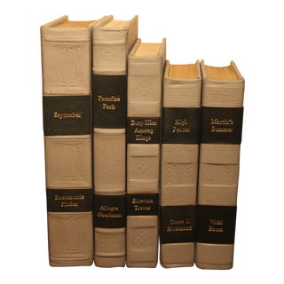 Traditional Leather Bound Books- Set of 5 For Sale