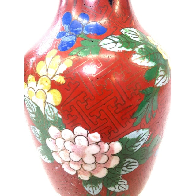 Late 20th Century Vintage Chinese Floral Champleve Vase Enamel-Over-Brass For Sale - Image 5 of 7