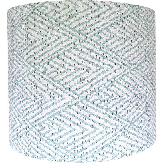 Large Lacefield Designs Tahitian Stitch Aqua Custom Drum Lamp Shade. Handmade item. Materials: designer fabric, wire lamp...