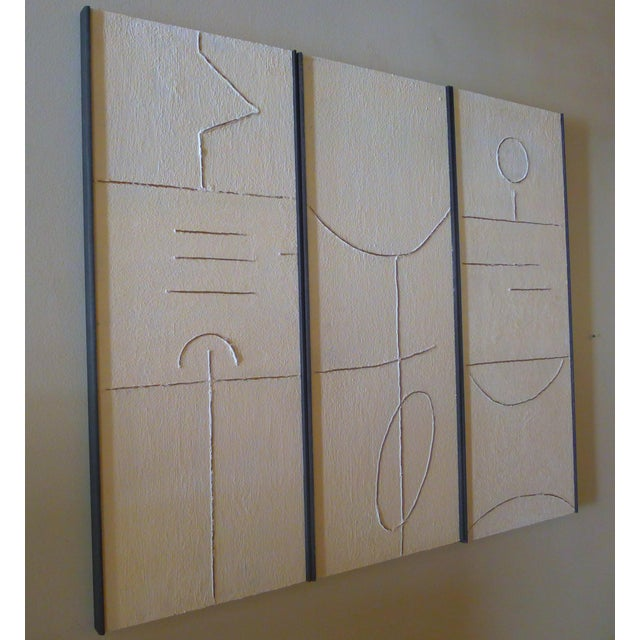 """Triptych of Art Panels made of gesso and wood by Paul Marra. Each panel is 15.5' wide, the triptych as shown is hung 47""""..."""