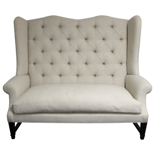 Tufted Wing Back Sofa For Sale In New York - Image 6 of 6