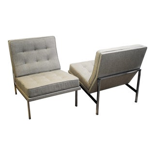 Pair of Lounge Chairs by Florence Knoll for Knoll, 1960's, New Upholstery