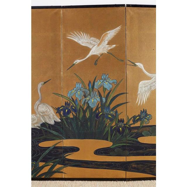 Japanese Six-Panel Meiji Screen of Egrets on Gold Leaf For Sale - Image 4 of 13
