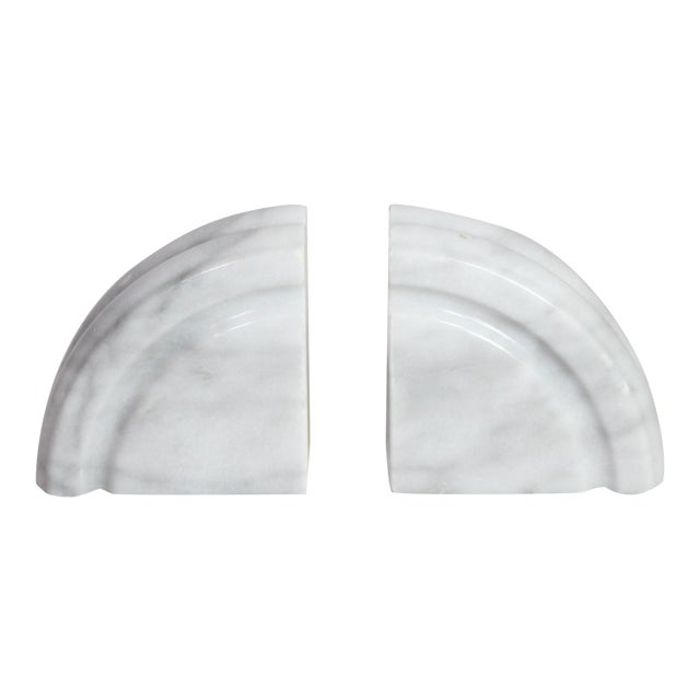 1980's Post Art Deco White Marble Bookends - a Pair For Sale