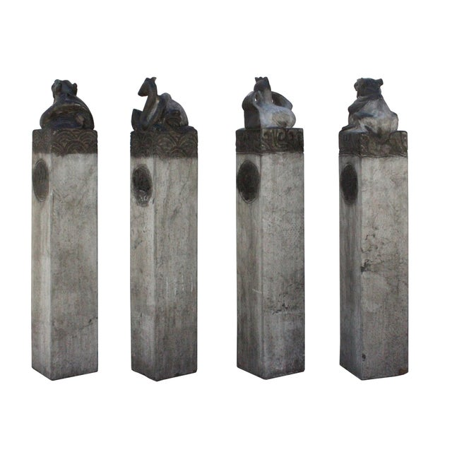 Stone Chinese Set Gray Black Color Stone Fengshui Four Symbols Tall Slim Pole Statue For Sale - Image 7 of 10
