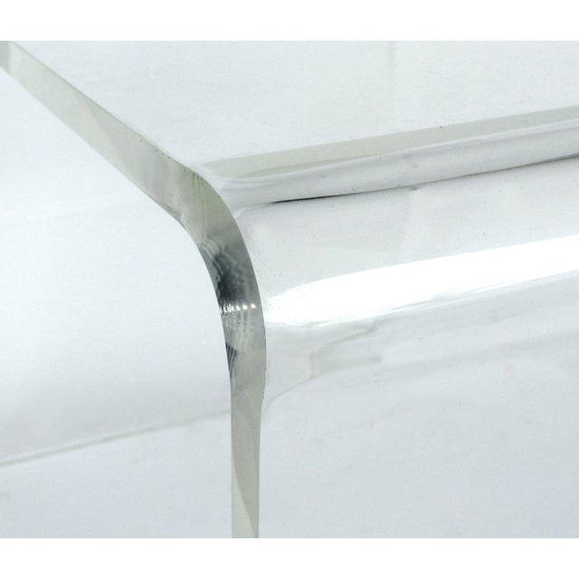 Custom Lucite Curved Sides Waterfall Table or Bench For Sale - Image 4 of 8