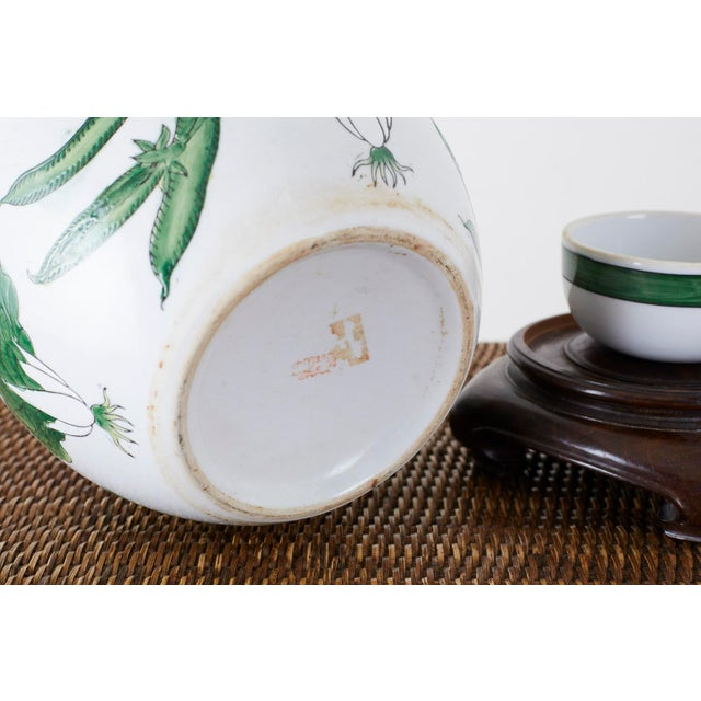 Chinese Export Porcelain Lidded Ginger Jar on Stand For Sale - Image 12 of 13