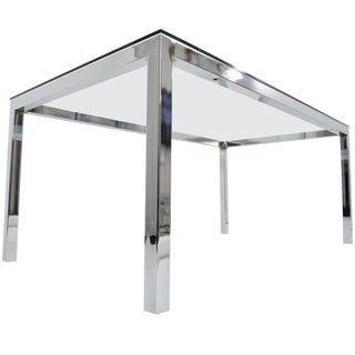 Milo Baughman Chrome and Glass Dining Table/Desk