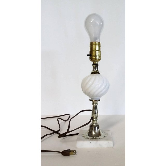 Vintage Italian White Marble Base Milk Glass Lamp For Sale In Boston - Image 6 of 6