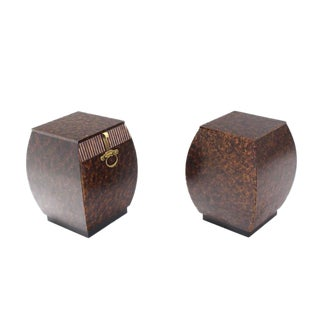 Pair of Bombey Barrel Shape Widdicomb End Tables Stands Brass Hardware Pulls For Sale