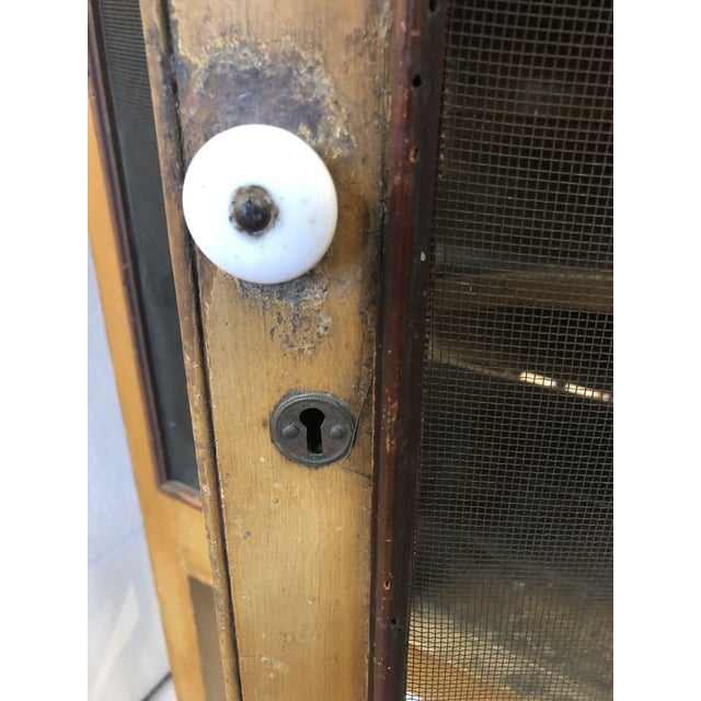 Early 20th Century Rare Primitive Pie Safe With Original Paint and Hardware Circa 1900 For Sale - Image 5 of 13