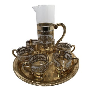 1960s Turkish Gold Metal and Glass Coffee or Tea Set - 8 Pieces For Sale