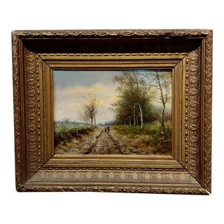 19th Century Mother & Daughter in a Dutch Landscape - Oil Painting For Sale