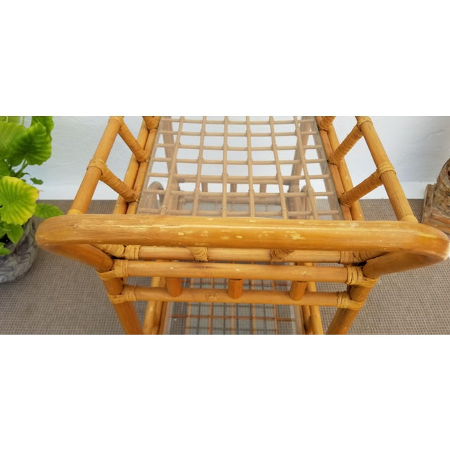 Vintage Boho Chic Rattan & Bamboo Rolling Bar Cart For Sale - Image 10 of 13