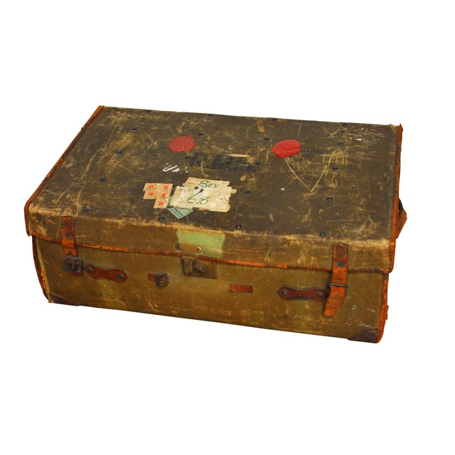 Antique Campaign Steamer Travel Trunk Luggage For Sale